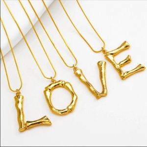Jewelry - NEW GOLD BAMBOO INITIAL STATEMENT NECKLACE